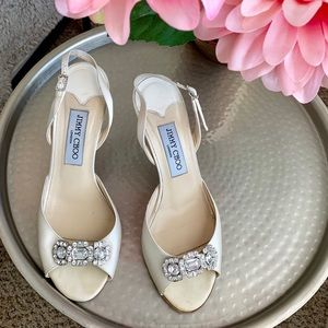 Jimmy Choo Regal Slingback In Ivory Silk Satin